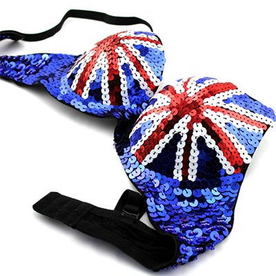 picture of bedazzled british flag bra