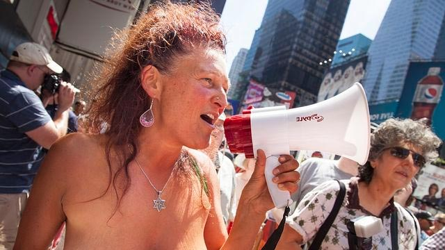 picture of women at topless rally